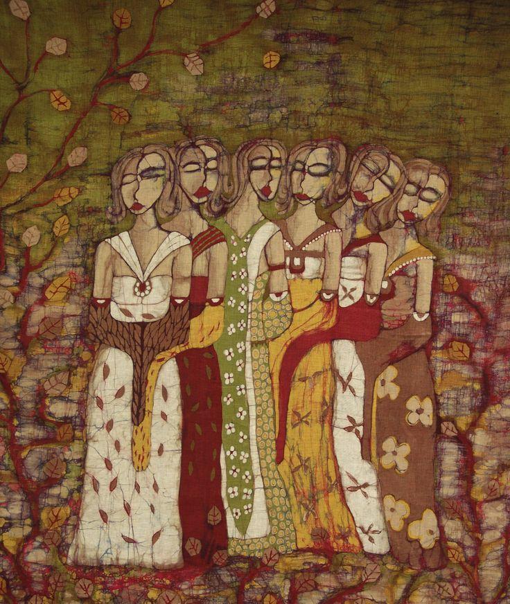 Hermanas. Técnica: Batik sobre lino. Dimensiones: 130x150 cm.