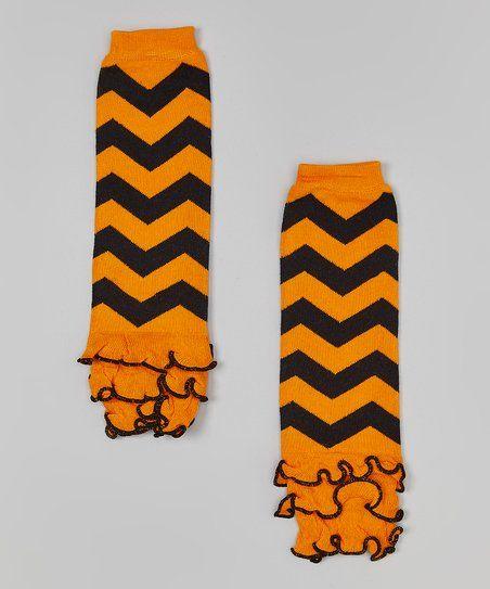 Whitney Elizabeth Black & Orange Chevron Leg Warmers | zulily