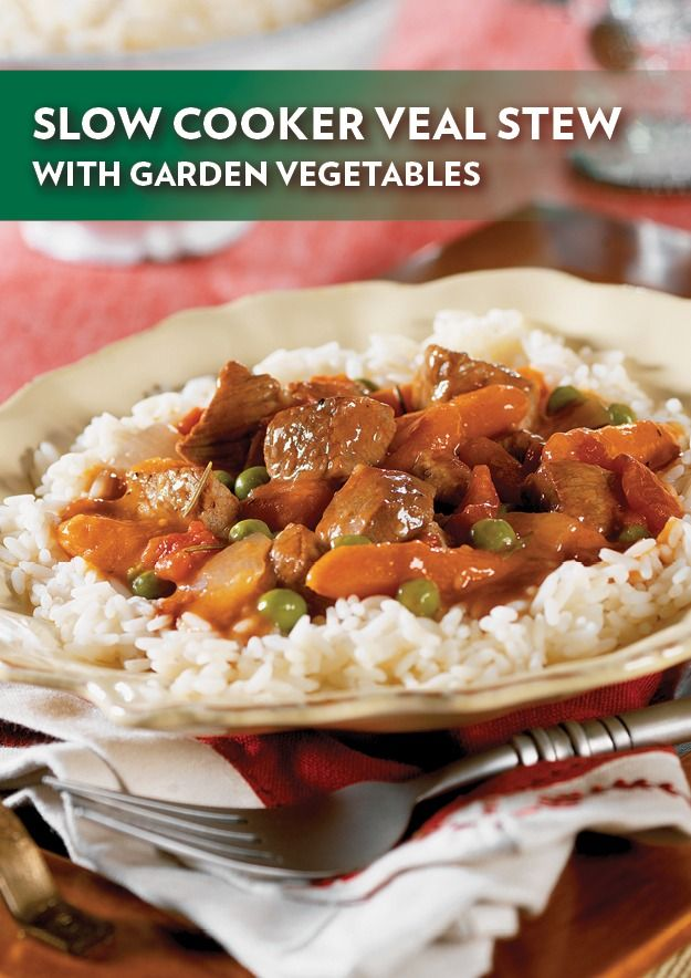 Slow Cooker Veal Stew with Garden Vegetables – Assemble and set it to cook in the morning, then savor the mouthwatering aroma from the kitchen when you return home in the evening.
