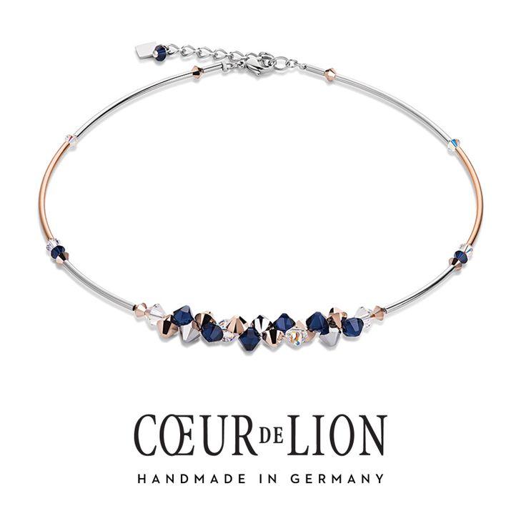 Swarovski rose gold and blue cluster necklace from Coeur de Lion.