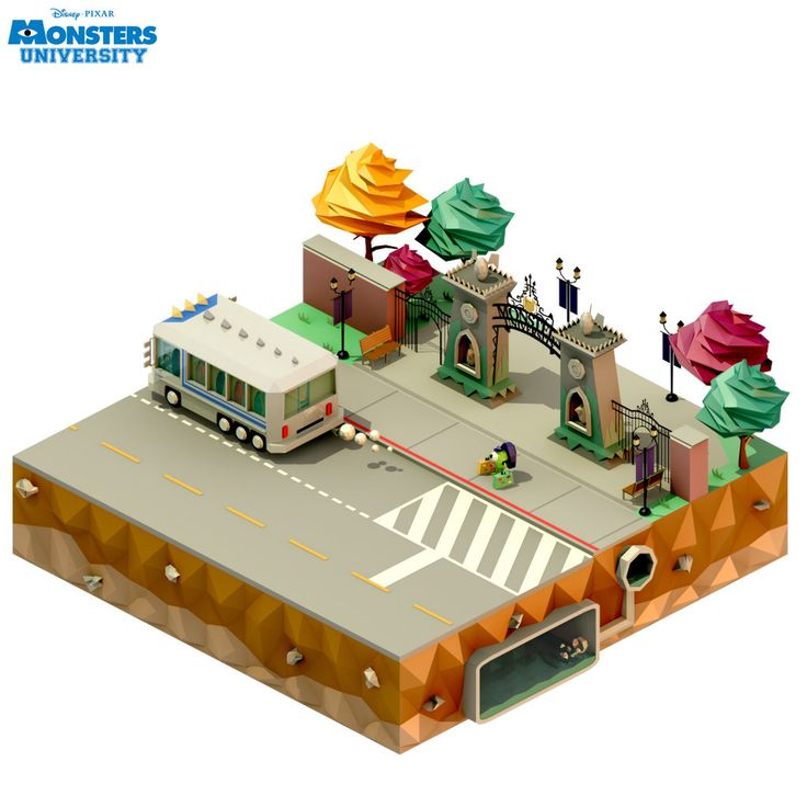 Low Poly Scene : First Day at Monsters University by kautsar211086.deviantart.com on @deviantART
