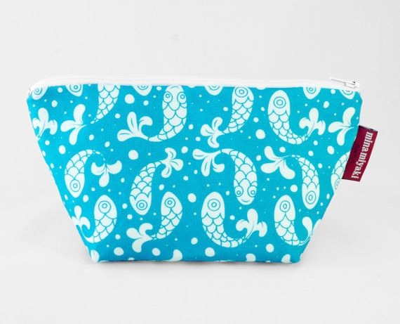 Bubble Fish Trapeze Pouch in Blue Toiletry bag by MinaMiyaki