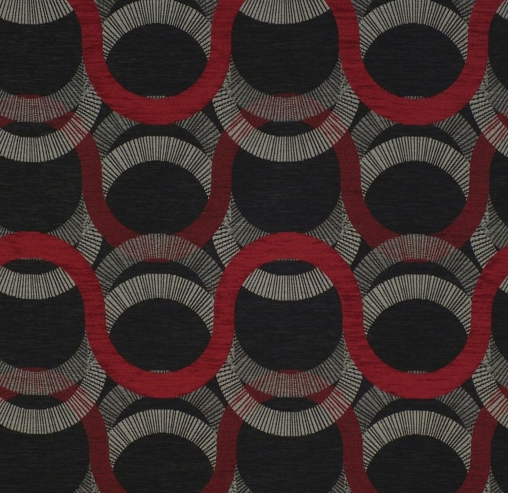 Red geometric upholstery fabric - Given Ruby by Charles Parsons Interiors #red #geometric #circles #fabric #upholstery #charlesparsonsinteriors