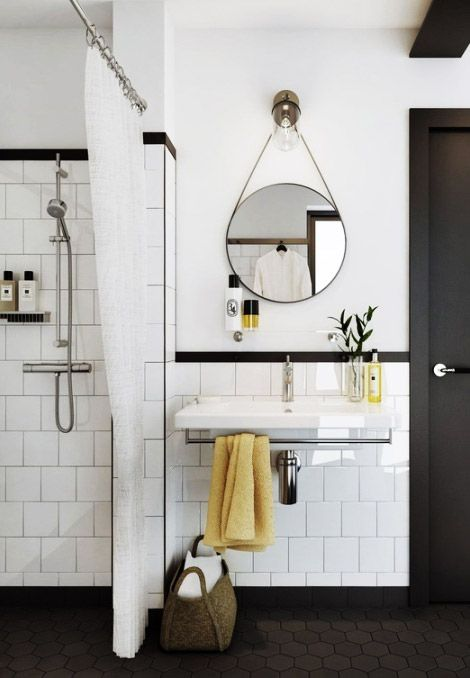 25 beste idee n over zwart wit badkamers op pinterest badkamer en metro tegels badkamers - Spiegel wc ontwerp ...