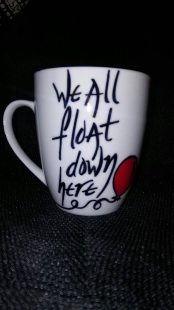We All Float Down Here, Pennywise Clown, Red Balloon, Stephen King's IT, horror movie, horror, novel, hand painted, kiln fired, coffee mug. by LunaZingara on Etsy