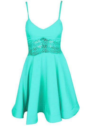 Solid Pierced Hollow Back Flare Dress - Green on Luulla