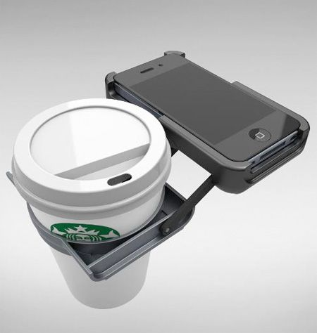 "La nueva era para tomarte tu cafe miestra ""wasapeas"" :) iPhone Cup Holder Case vía @toxel"