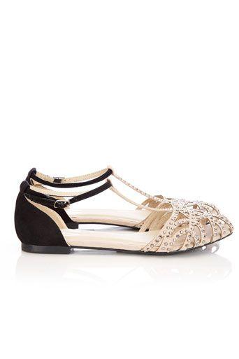 Cream And Black Diamante Sandal - Cream