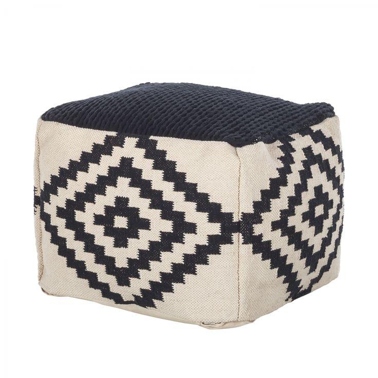 Sitzwürfel Mazamet - Baumwollstoff - Schwarz / Weiß