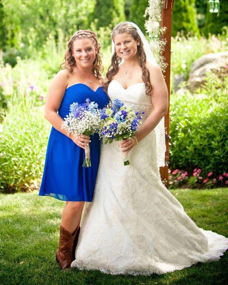 Spray tan and white wedding dress.