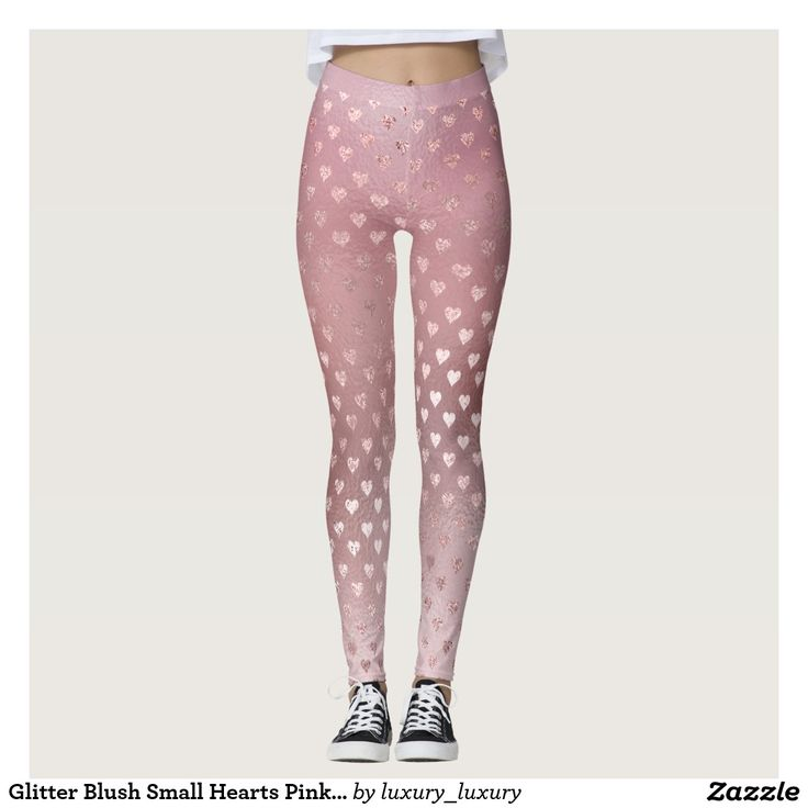 Glitter Blush Small Hearts Pink Rose Gold Sparkly Leggings