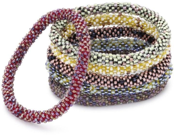 Aid Through Trade roll-on bracelet set: Bracelet Set, Fit, Colorful Bracelets, Handmade Bracelets, Color Combinations, Bracelet Aid, River Stones, Fair Trade