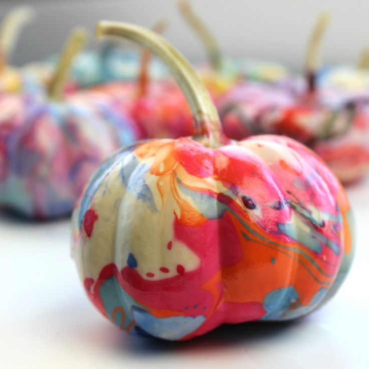 How to Marble a Pumpkin with Nail Polish • Color Made Happy