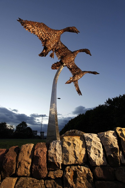 Art in Nature, Loch Leven, Perth and Kinross. A sculpture of geese by local artist and craftsman David Wilson, reflecting the importance of the Loch Leven National Nature Reserve at Kinross, Perthshire, Scotland. (credit VisitScotland February 2013)