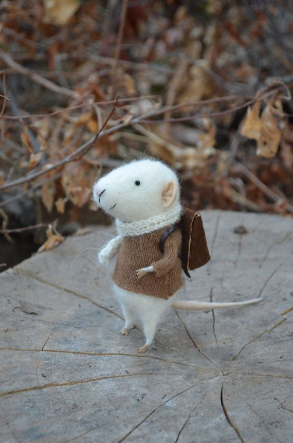 Little Traveler Mouse  Felting Dreams  READY TO by feltingdreams, $68.00