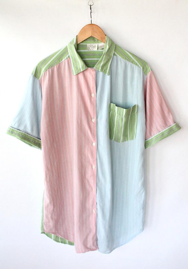 Vintage 80s Pastel Color Block Soft Cotton Spring Blouse // Women's PJ Top. $30.00, via Etsy.
