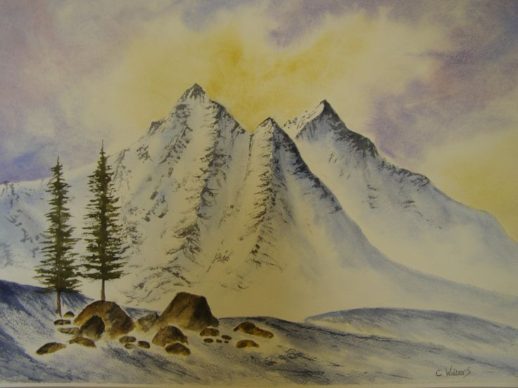 Snow Peaks water colour by Colin Walters 594mm x 420mm