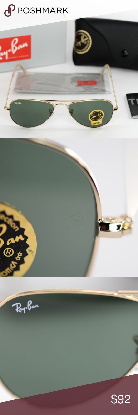 RayBan Aviator x-Small RB3044 Gold Metal Frame BRAND NEW! NEVER BEEN USED! UNOPENED BOX! MINT CONDITION! Model Number: RB3044 Color Number: L0207 Style: Aviator  Frame Material: Metal Frame Color: Gold Lenses: Mirror G-15 XLT Shape: Pilot Size Lens-Bridge: 52 14 Temple Length: 135  UPC: 805289602071  We ship within 24 Hours after the  payment is cleared (Except weekends   and holidays).  Customer Satisfaction 100% Guaranteed. Ray-Ban Accessories Sunglasses