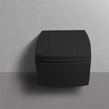 Væghængt toilet Square i matsort minimalistisk design. Made in Italy