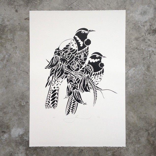 Tui Rua Screen Print by Flox - Art Prints NZ Art Prints, Design Prints, Posters & NZ Design Gifts   endemicworld
