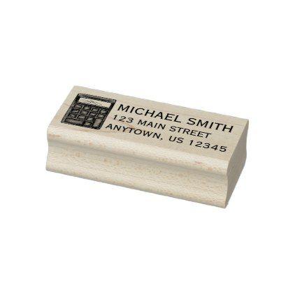 #Math Teacher Calculator Mathematics School Address Rubber Stamp - #office #gifts #giftideas #business