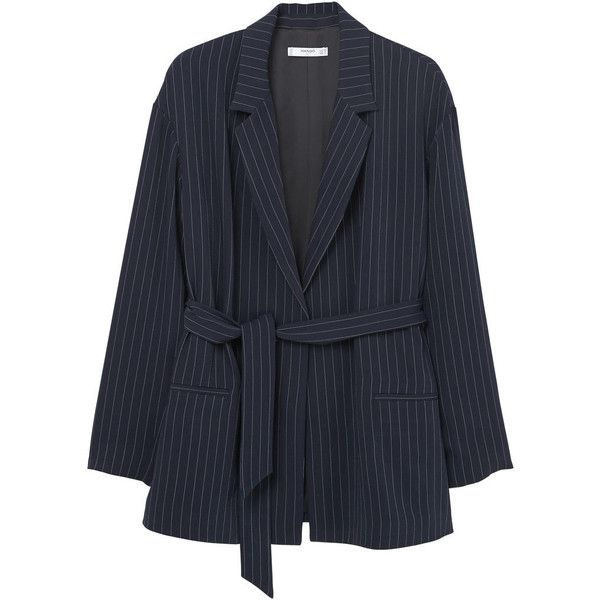 Pinstripe Suit Blazer (4,955 INR) ❤ liked on Polyvore featuring outerwear, jackets, blazers, mango jackets, blazer jacket, lapel jacket, pinstripe jacket and long sleeve jacket