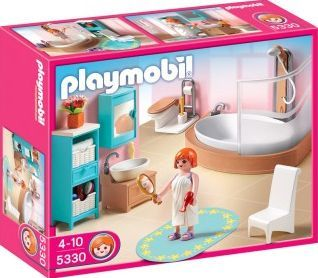 PLAYMOBIL® Bathroom, No. 5330 `One size Details : 1 bath/shower with shower screen, 1 WC, chairs, 1 shower mat, 1 brush, toothbrush, cups, 1 Characters, Theme: Dollhouse Age : Age 4 and upwards http://www.comparestoreprices.co.uk/january-2017-7/playmobil®-bathroom-no-5330-one-size.asp