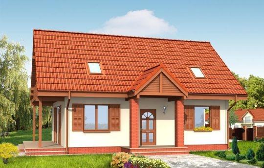 Projekt Radosny to dom dla szczęśliwej rodziny. Może pełnić rolę jednorodzinnego - może być też domem letniskowym. Prosta bryła budynku z dwuspadowym dachem ozdobiona jest gankiem wejściowym i zadaszonym balkonem na słupach. Parter domu Radosny zaprojektowany jest jako jednoprzestrzenne pomieszczenie, z dużą kuchnio-jadalnią i salonem.