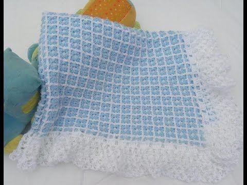 cobija o manta para bebé a crochet fácil y rápido - YouTube