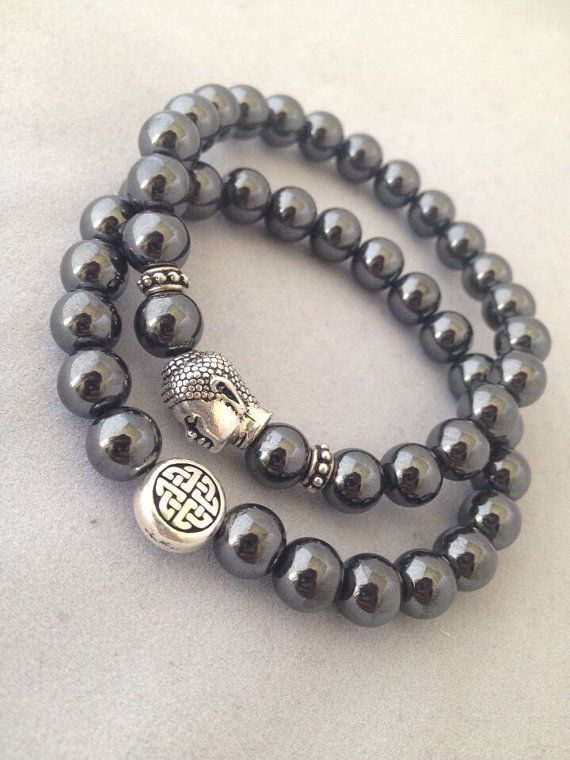 SALE Hematite Endless Knot & Buddha Bracelet Set  Get 1 or