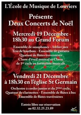Deux concerts de Noël de l'école de musique de #Louviers ces mercredi 19 et jeudi 21 décembre 2012.