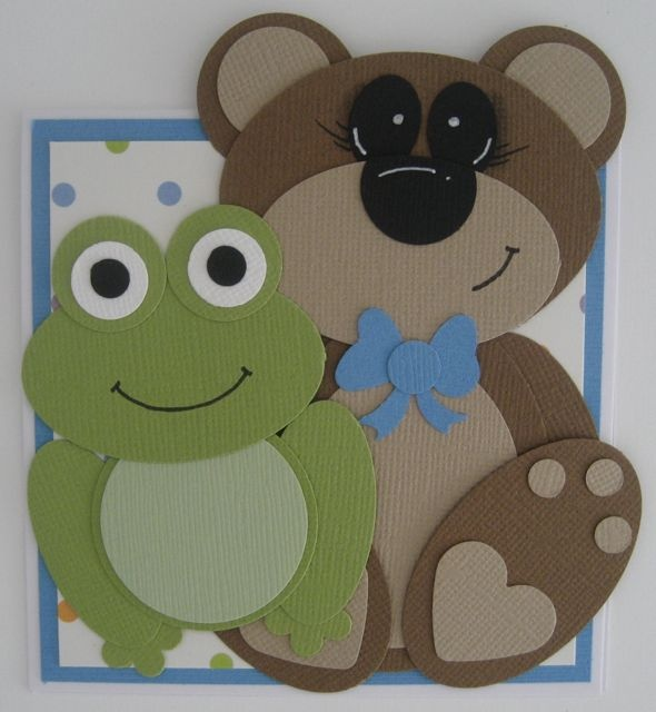 Teddy Bear and frog punch art - bjl