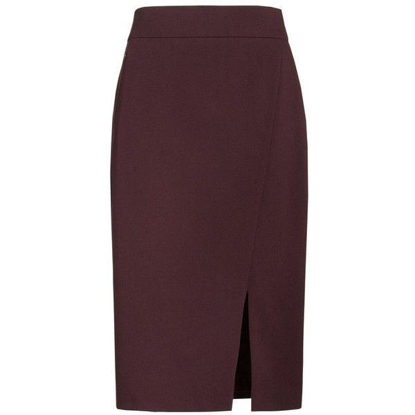 Women's Akris Punto Gabardine Pencil Skirt (5.150 ARS) ❤ liked on Polyvore featuring skirts, wine, pencil skirts, brown pencil skirt, brown skirt, slit skirt and knee length pencil skirt