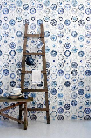 Removable Wallpaper Online — Studio Ditte Porcelain saucer wallpaper in Blue