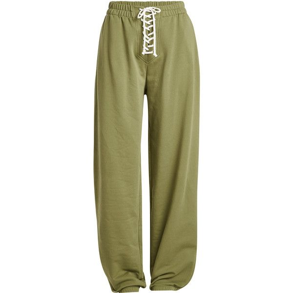 FENTYxPuma by Rihanna Lace-Up Sweatpants ($235) ❤ liked on Polyvore featuring activewear, activewear pants, green, green sweat pants, puma sportswear, green sweatpants, puma activewear and puma sweatpants