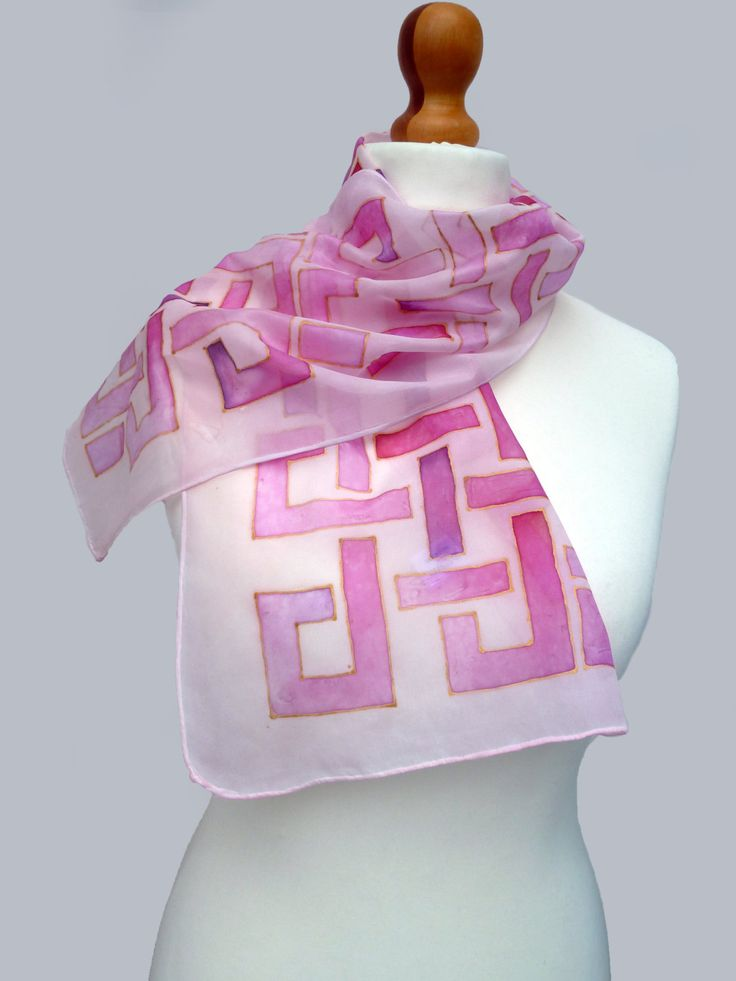 Pink, hand painted silk scarf, intertwine design by SofiaHartLondon on Etsy