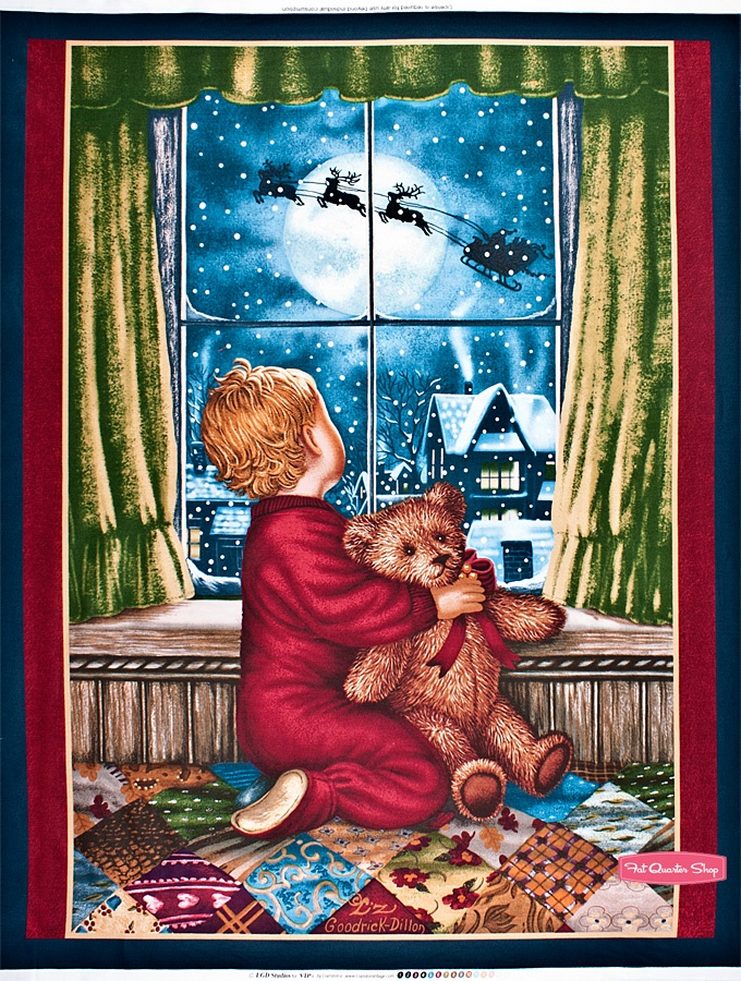 Teddy's Christmas Eve Red Quilt Panel SKU# 45767-R - Christmas Cloth Store