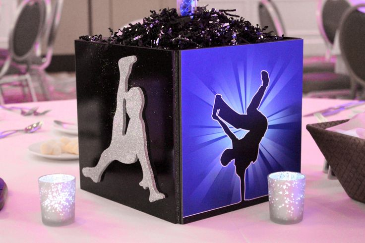hip hop party theme | Hip Hop Dance Themed Cube Centerpiece with Dancer Silhouettes