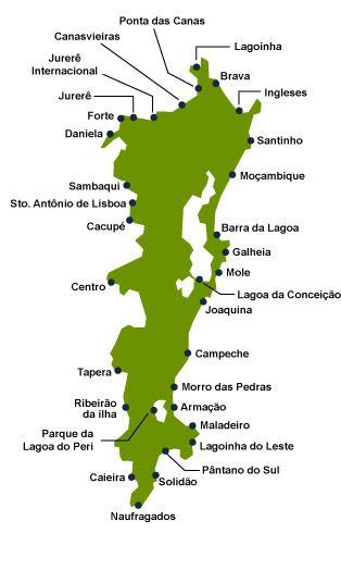 Mapa das Praias do Sul de Florianópolis