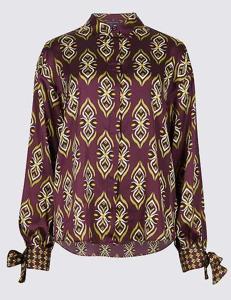 9ae46f15fed5d Geometric Print Long Sleeve Tie Cuff Shirt
