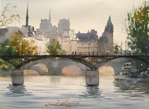 watercolor paintings paris | Paris – the Seine and it's beautiful bridges! | Frank Eber ...