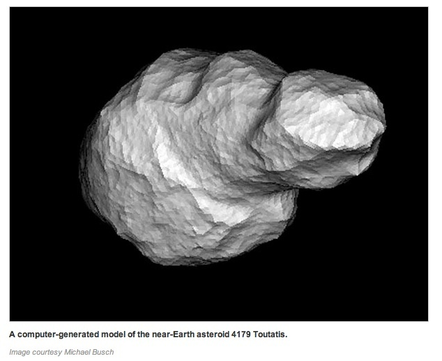 Asteroid Toutatis, at 2.7 miles (4.46 kilometers) long and 1.5 miles (2.4 kilometers) wide, is one of the largest to come near Earth. When the peanut-shaped rock is at its closest to the Earth on December 12, it'll be more than 4.3 million miles (6.9 million kilometers) away, or more than 18 times the distance from the Earth to the moon.