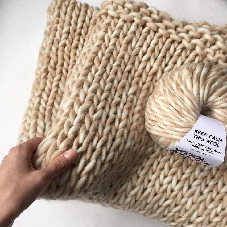 Для тех кто любит вязать пледы рекомендуем. Пряжа #KeepCalmThisWool #WoolandMania, спицы для вязания пледов 15-25 мм.