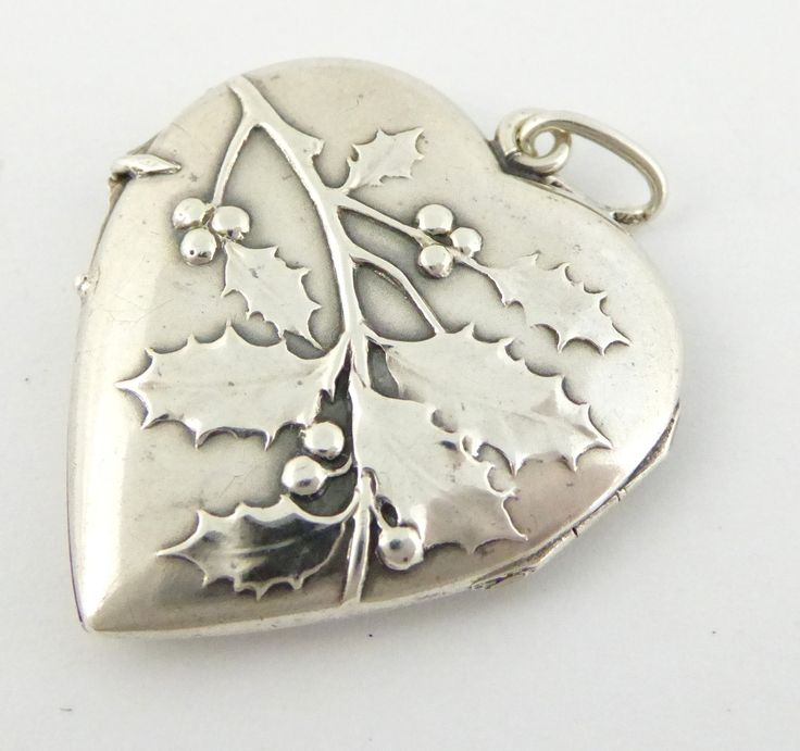 Vintage White Metal Silver Photo Heart Shaped Locket Pendant Llex Sprig of Holly - The Collectors Bag