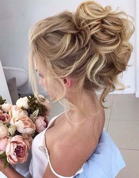 Beautiful Loose High Bun Wedding Hairstyles 2017