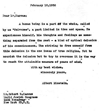 Una carta de Albert  Einstein dando el pésame a un colega ... Thank you