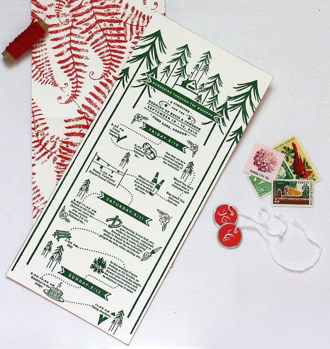 Perfect invitations for a camping themed wedding!