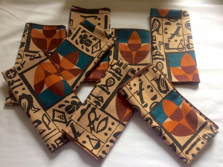Scandinavian Napkins/ Set of 8 Napkins / Cotton Tribal Pattern by ModernaireMCMStudios on Etsy