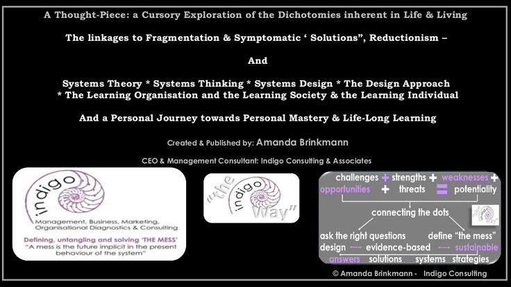 Thought piece about the dichotomies of life and living fragmentation systemic theory and personal mastery 4 march 2015 by Amanda Brinkmann via slideshare
