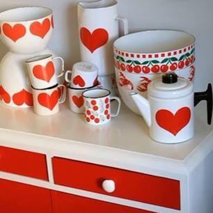 Heart, red and white, Kaj Franck